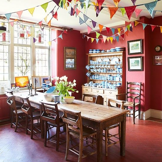 Cheerful Red Dining Room With Bunting