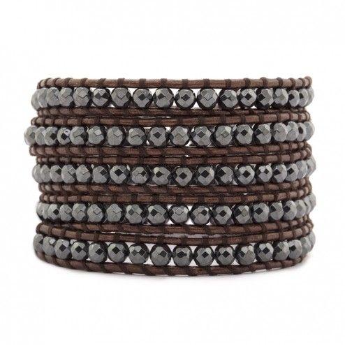 Chan Luu Hematite Brown Leather Wrap Bracelet