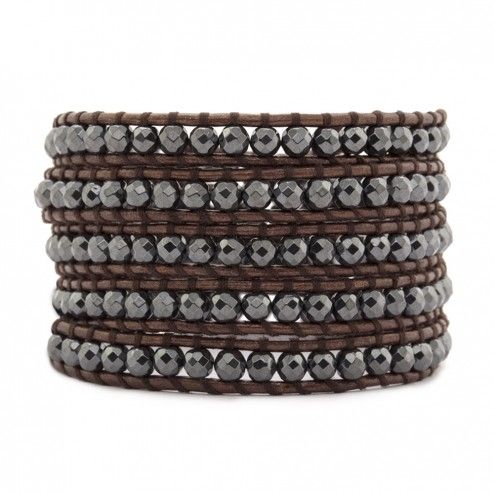 Chan Luu Hematite Brown Leather Wrap Bracelet