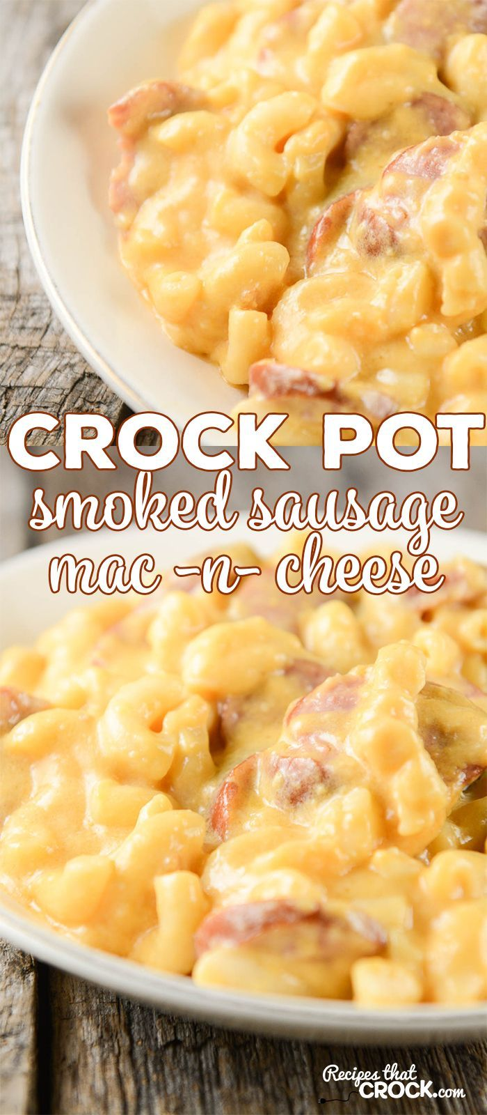 This Crock Pot Smoked Sausage Mac 'n Cheese is not only creamy, but has an amazing smoky flavor!