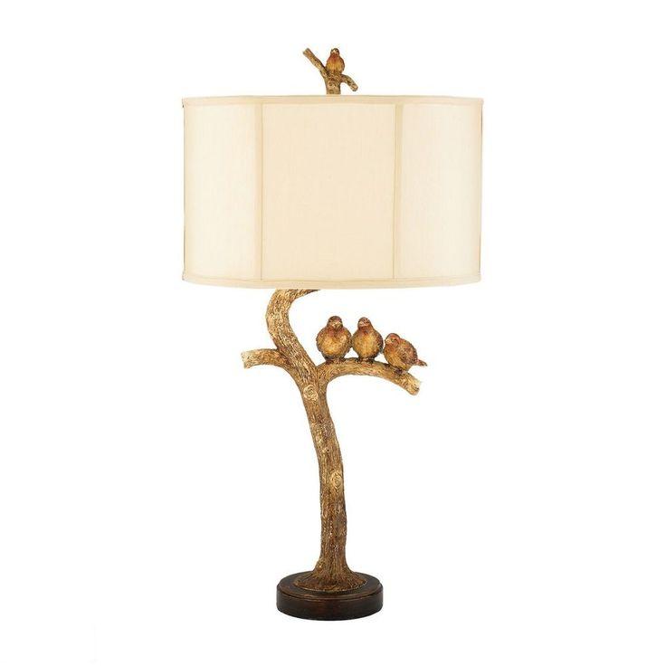 Beautiful Birds On Branch Table Lamp Three Gold Leaf Finish Lovebirds Perched On Limb  31 Idea