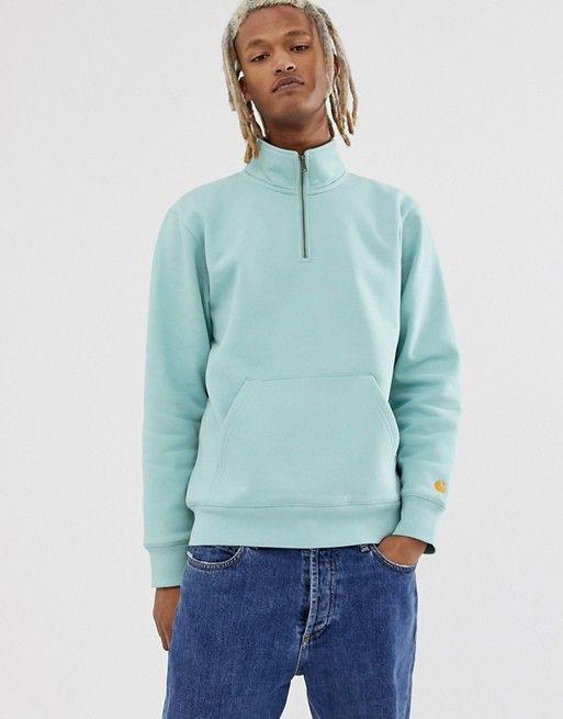 cdf6daa4aa0 Carhartt WIP Chase half zip sweatshirt in green in 2019 | asos men ...