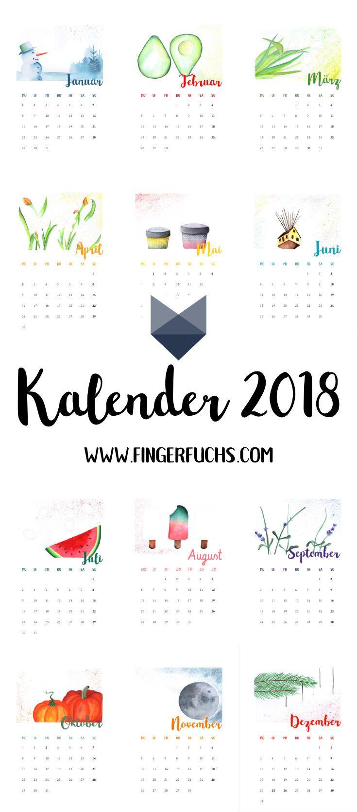 Kalender 2018 Zum Fingerstempeln Creative Calendar Pinterest