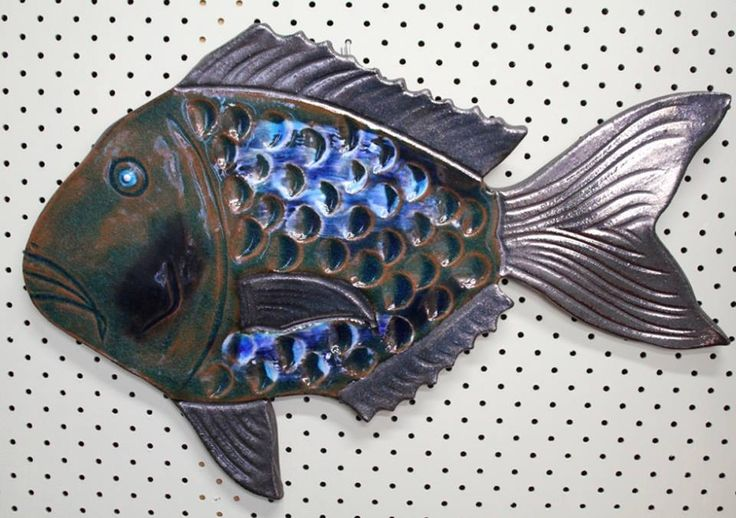 If you can't catch the real thing.... Snapper by @MJMatakana , $95. (Sorry, it's not edible!). #pottery #fish #wallart