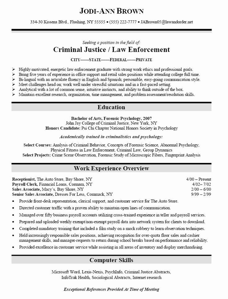 criminal justice major resume Google Search in 2020