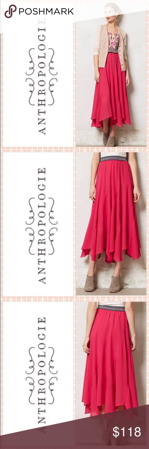 ✨LIKE NEW✨ Anthropologie maxi boho chiffon skirt ✨LIKE NEW✨ Anthropologie pink maxi boho chiffon skirt by designer Vanessa Virginia. This fully lined skirt gets so many compliments when worn thanks to its flows feel and vibrant magenta pink hue. The one and only bohemian festival skirt you will ever need! Perfect for summer to fall weddings, baby showers, Coachella, music festivals and more! Anthropologie Skirts Maxi