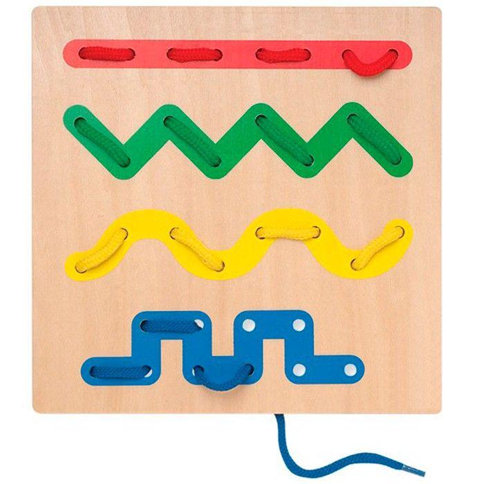 juego para nios que consiste en enhebrar trazos con un cordn de tela desarrolla la