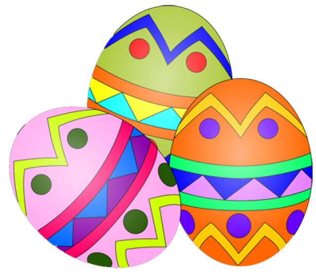 17 Free Easter Egg And Basket Clip Art Designs Group Of Three Eggs