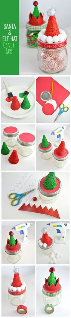 How to Make Santa and Elf Hat Candy Mason Jars #makeitfuncrafts