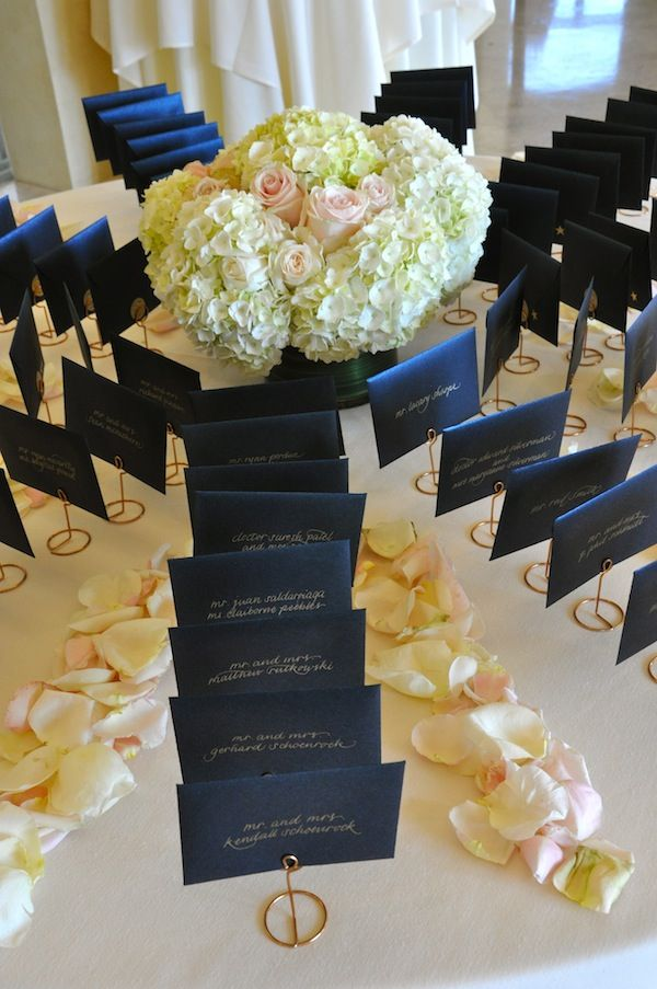#Navy Blue Wedding - #Blue Reception Place Cards with large Hydrangea Centerpiece #FinishWithFlowers