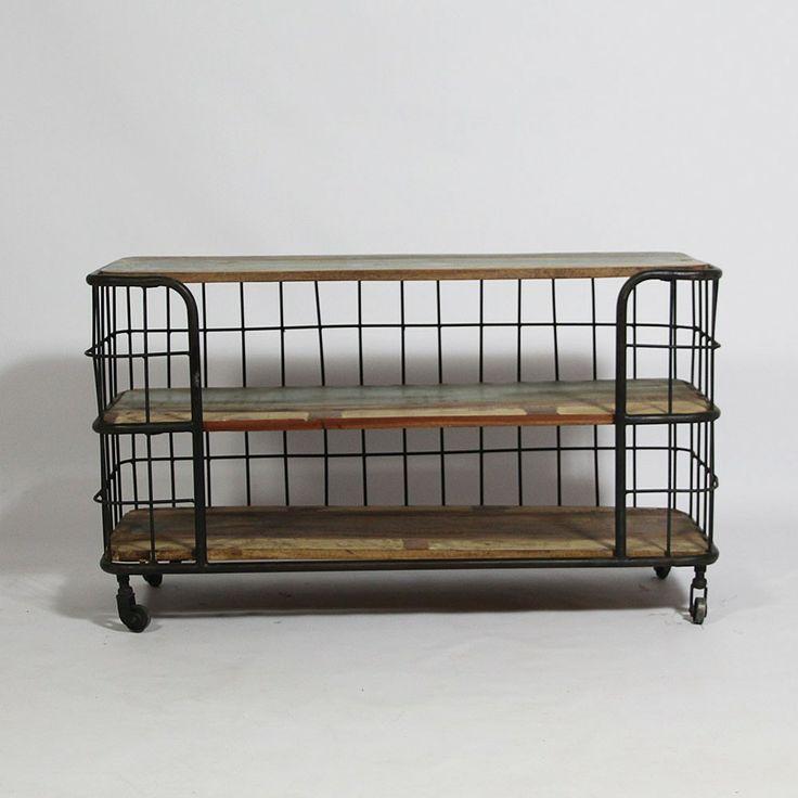 Meuble TV DEPOT en bois coloré et métal avec 3 planches. http://www.made-in-meubles.com/meuble-tv-chariot-grilles.html