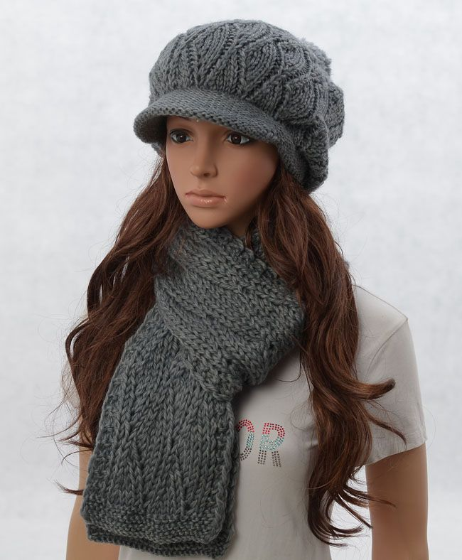 Wool slouchy woman handmade knitting hat and scarf
