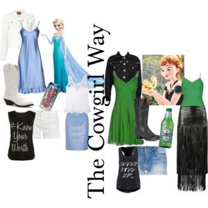 """""""Frozen/ 3 LOOKS"""" --ONE PAIR OF BOOTS; 3 LOOKS; GO FROM LADY TO REDNECK CRAZY !!  by hynmgal on Polyvore"""