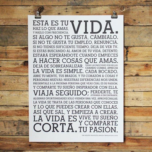 Holstee Manifesto Spanish Poster - HOLSTEE