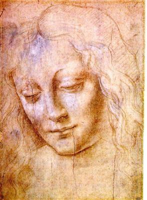 Visage de jeune femme - Léonard de Vinci - Tableaux et dessins