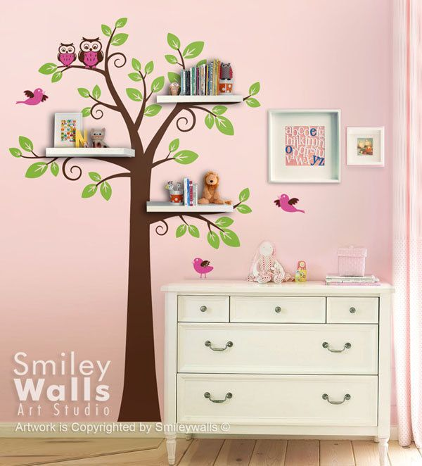 Shelves tree decal children wall decal shelf tree wall for Kids room wall decor