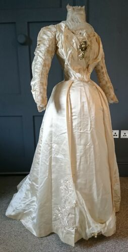 elegant 1890s satin wedding dress wth floral applique ebay
