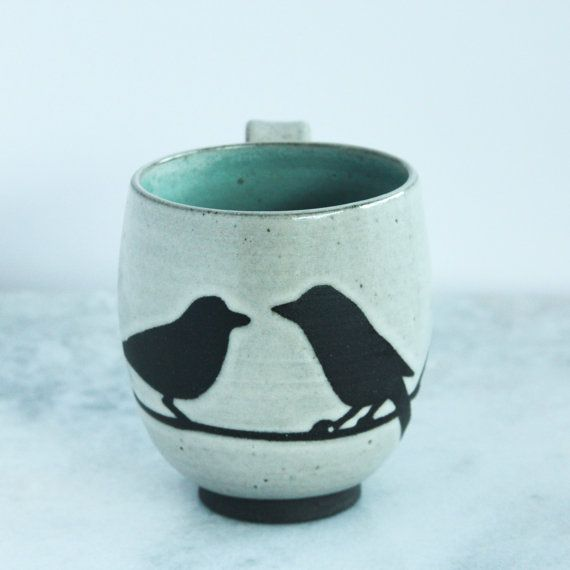 Handmade Mug, 2 Birds, Antique White Glaze - Made in Seattle by Mandy of Foxtail Pottery