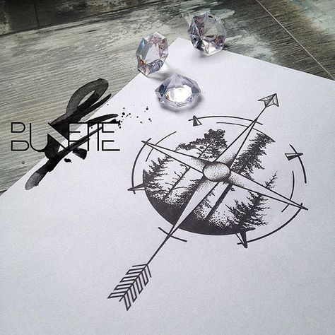 I like this idea for a compass tattoo!