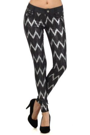 Fashion Mic Womens Stretchy Checkered Jeggings and ZigZag Jeggings