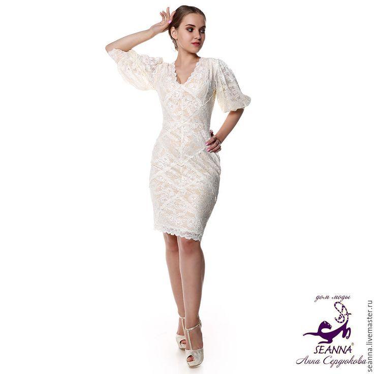 """Купить Роскошное кружевное эластичное платье """"Кружевное экрю"""" на подкладке - коктйельное платье, платье коктейльное"""