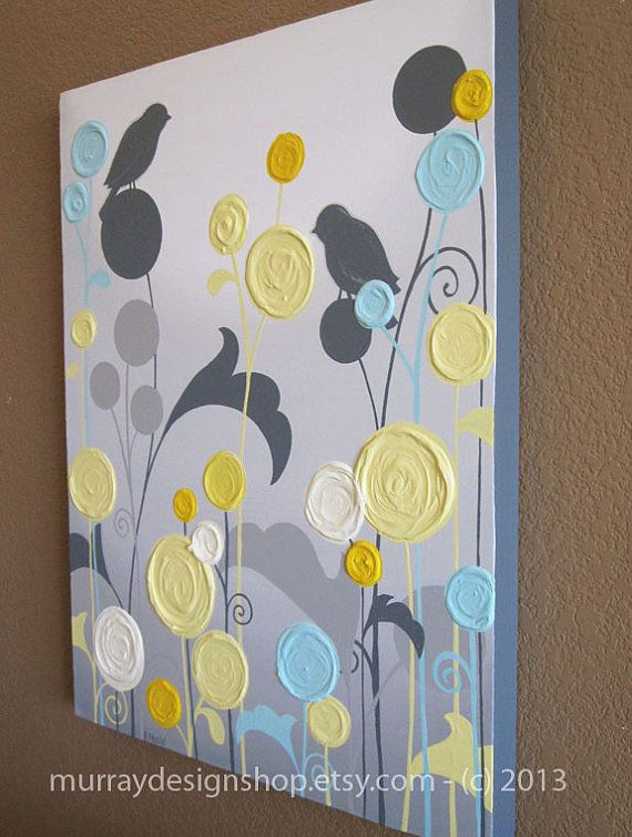 """Wall Art, Textured Yellow Grey and Aqua Flower Garden with Birds, 18x24"""" Acrylic Paintings on Canvas, READY TO SHIP via Etsy"""