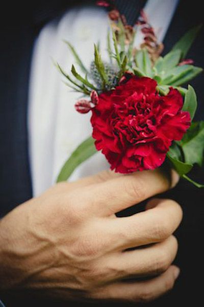 Ravishing Red Boutineers For The Groom    B&E Lucky in Love Blog