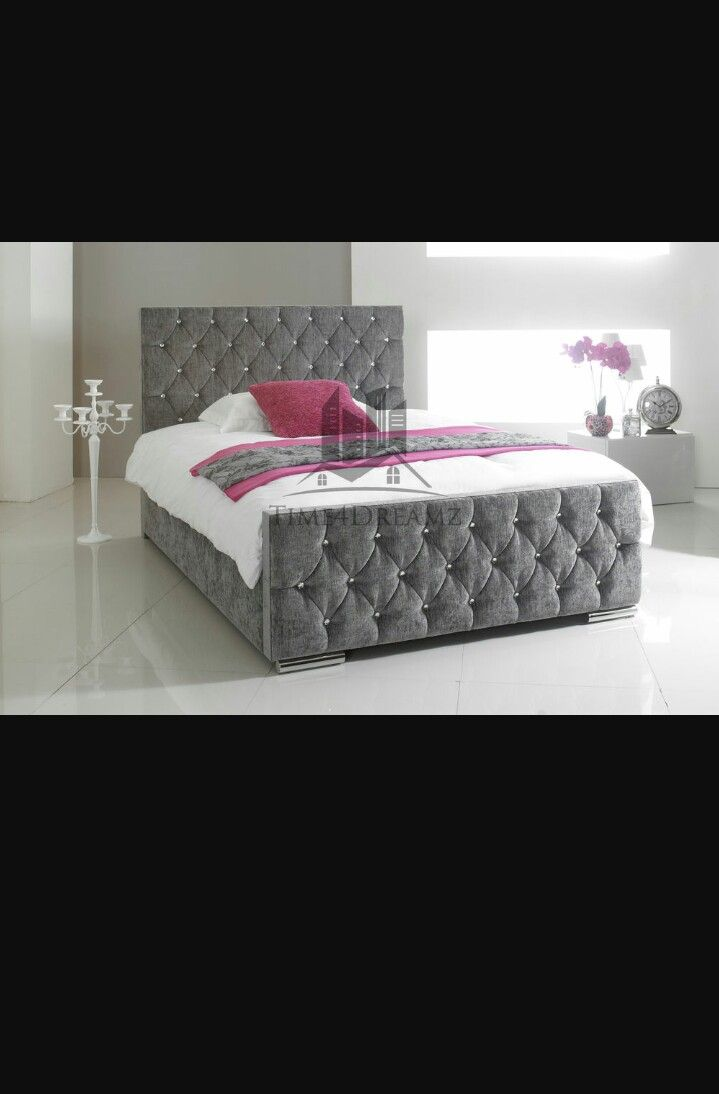 Pin baroque bed purple velvet fabric with rhinestones and black - Upholstered Bed Frame Chenille Fabric Diamond Pattern Fabrics Diamonds Florida King Simple Patterns