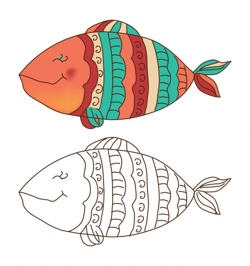 You Can Color This Funky Fish Coloring Page In Traditional Orange Blue Yellow