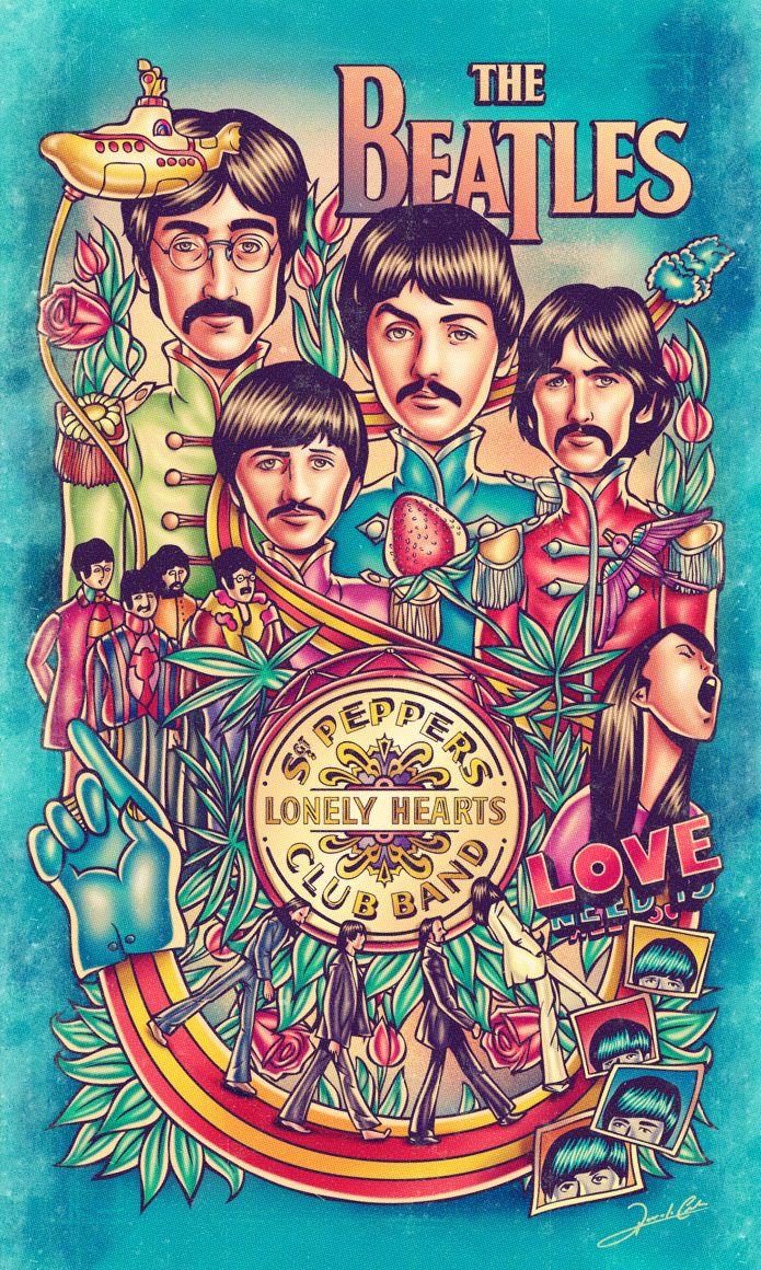 Ilustração da maior banda de rock de todos os tempos (na minha opinião): os Beatles. Na ilustração podemos encontrar referênciasaos álbuns Sgt Pepper's Lonely Hearts Club Band, Yellow Submar…