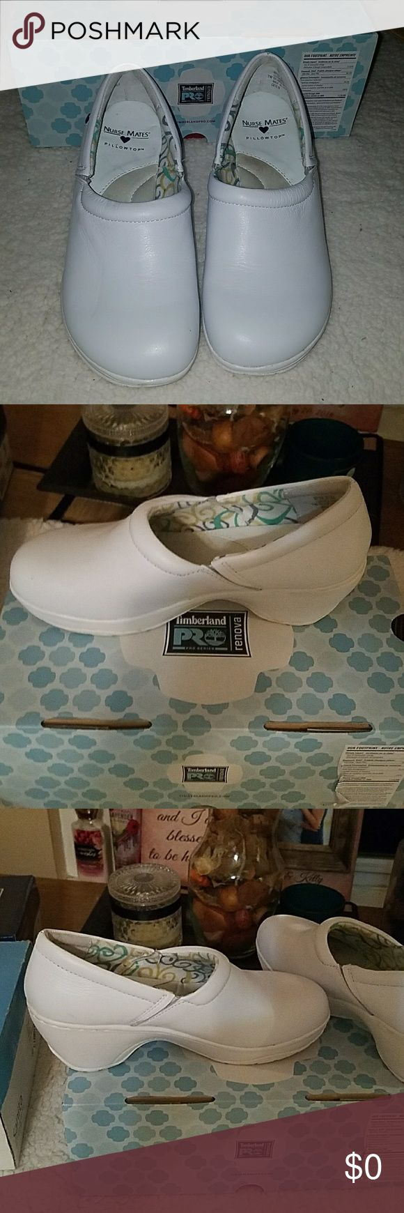 "Nurse Mate Pillow Top Shoes. Size 7 W Nurse Mate pillow top nursing shoes, with padded collar and side goring. Stain resistant leather. Tapered wedge heel. Slip resistant, 2 1/4"" heel with 1/2"" platform.  Size 7 W Nurse Mates Shoes"