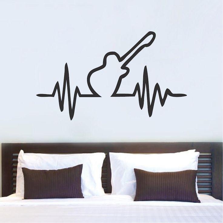 guitar beat bedroom decal sticker