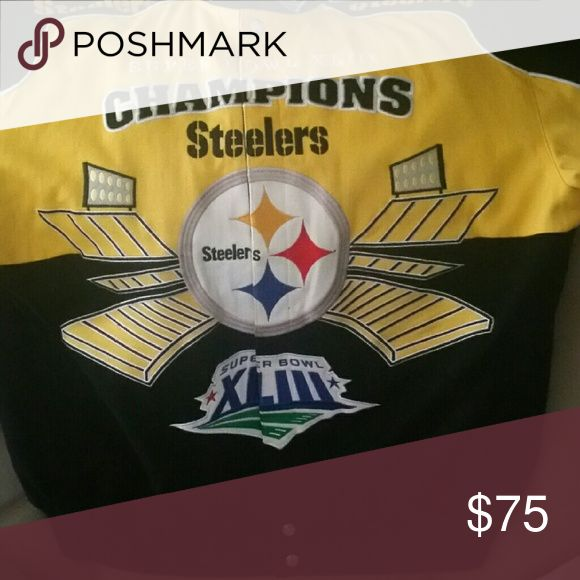 Pittsburgh Steelers Jacket Pittsburgh Steelers Jacket XL. Soft jean material. Nice and warm. Go Steelers! Jackets & Coats