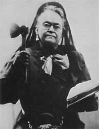 June 1, 1900 – Carrie Nation begins her crusade to demolish saloons. Carrie Amelia Moore Nation (November 25, 1846 – June 9, 1911) was a radical member of the temperance movement, which opposed alcohol in pre-Prohibition America. She is particularly noteworthy for promoting her viewpoint through vandalism. On many occasions Nation would enter an alcohol-serving establishment and attack the bar with a hatchet.