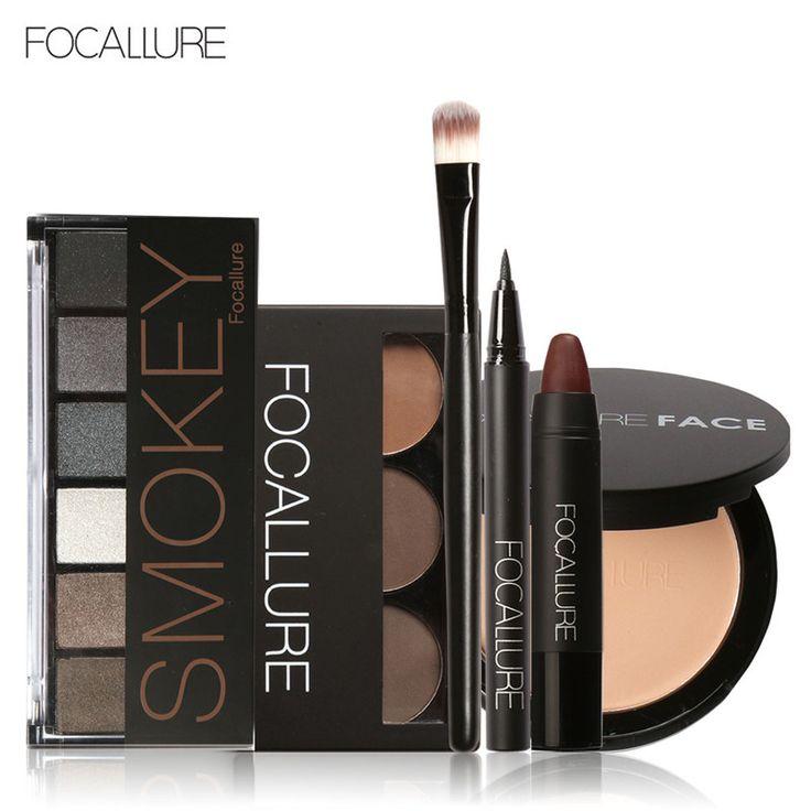 Focallure 6 pz pro trucco viso set sopracciglio tavolozza polvere eyeliner ombretto palette opaco sexy autoadesivo del labbro con 1 pz spazzola