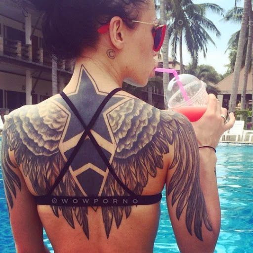 Awesome Star Tattoo with Wings on Back