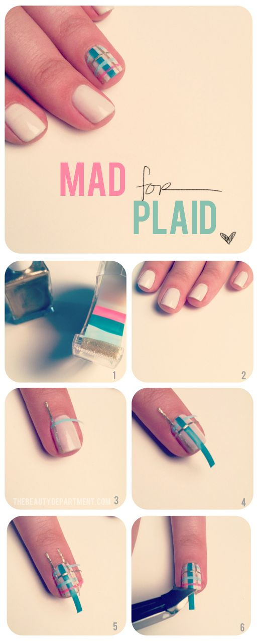 TBDplaidnail - scotch tape + nail color = cool shapes and patterns! Just cut out, place on your nail (sticky side down), and accept the compliments of your skill graciously...@Breanna Perry, I know you'd love this!