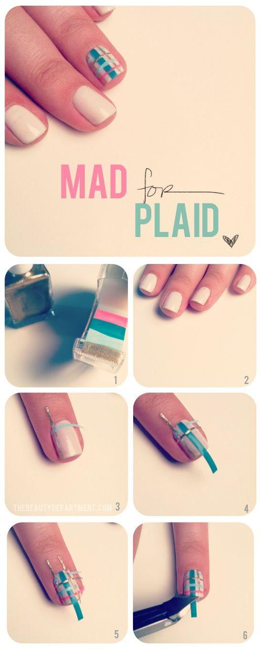 cute plaid nails