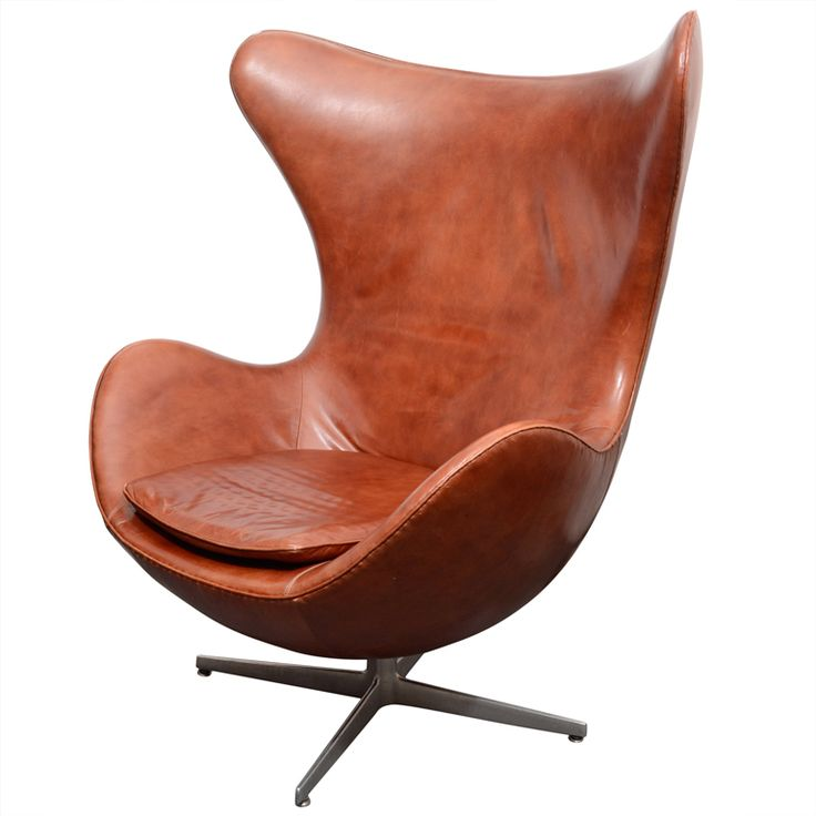 Vintage egg chair in brown leather by arne jacobsen for Egg chair jacobsen