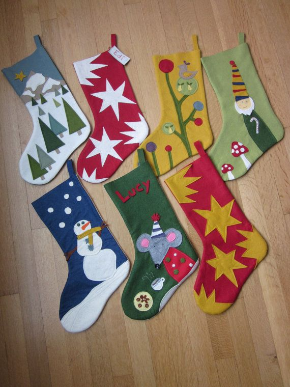 cute ideas      Wool Felt Christmas Stocking by PhyllisWonderland on Etsy, $44.00