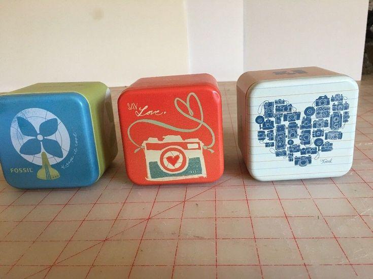 Fossil Watch Box Tin Lot Of 3 Camera Fan Heart Of Cameras   | eBay