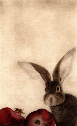 Lapin aux Grenades   (Rabbit with Pomegranates)  Click for more C. C. Barton's art  http://www.ccbarton.com/