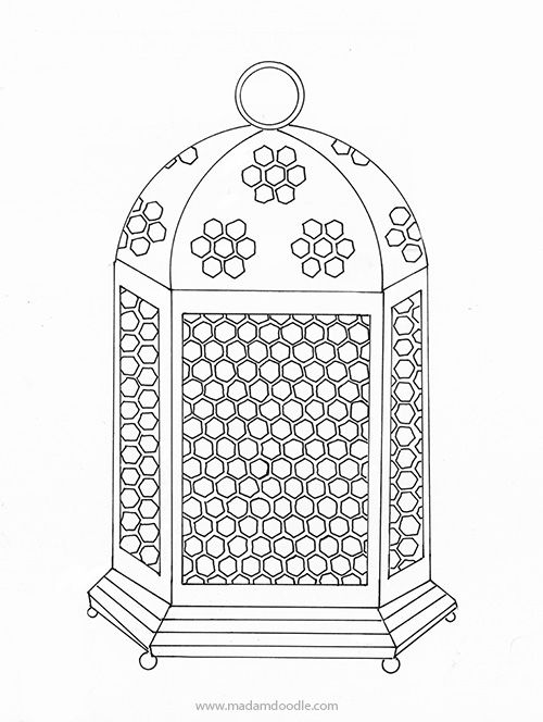 Free coloring page for children and adults, Fanoos Ramadan
