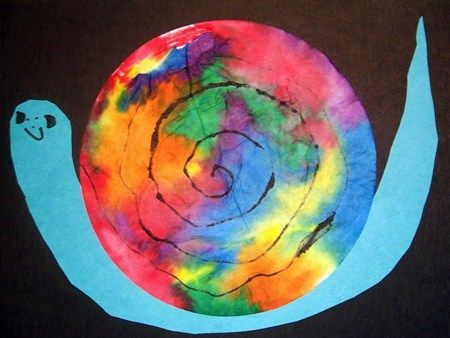 Tie dye snail- snail and the whale? colour coffee filter with markers then spray with water