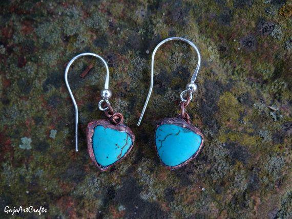 Dangling turquoise earrings tiffany jewellery by GajaArtCrafts