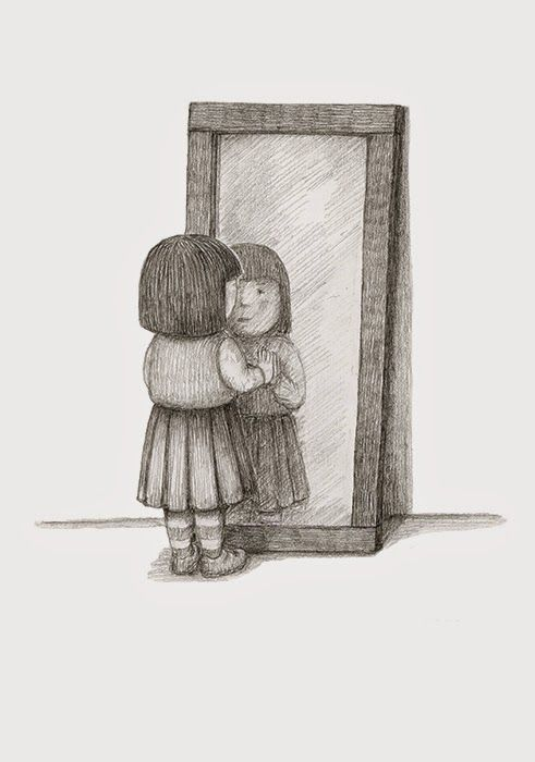 Girl looking in mirror drawing google search wattpad for Mirror meaning