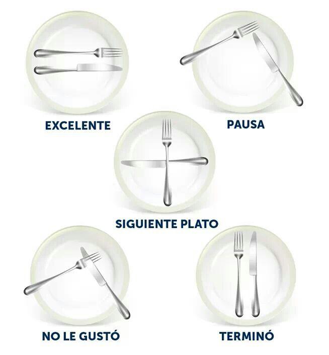 Modales en la mesa: la manera en la colocamos los cubiertos al finalizar la comida indican sí fue de nuestro agrado o no la comida