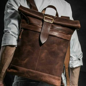Photo of Roll top backpack Leather backpack Laptop backpack Leather daily pack Large backpack Mens backpack Mens gift Christmas gift Birthday gift