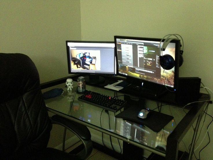 glass desk gamer stuff workspaces desks forward gamer s glass desk