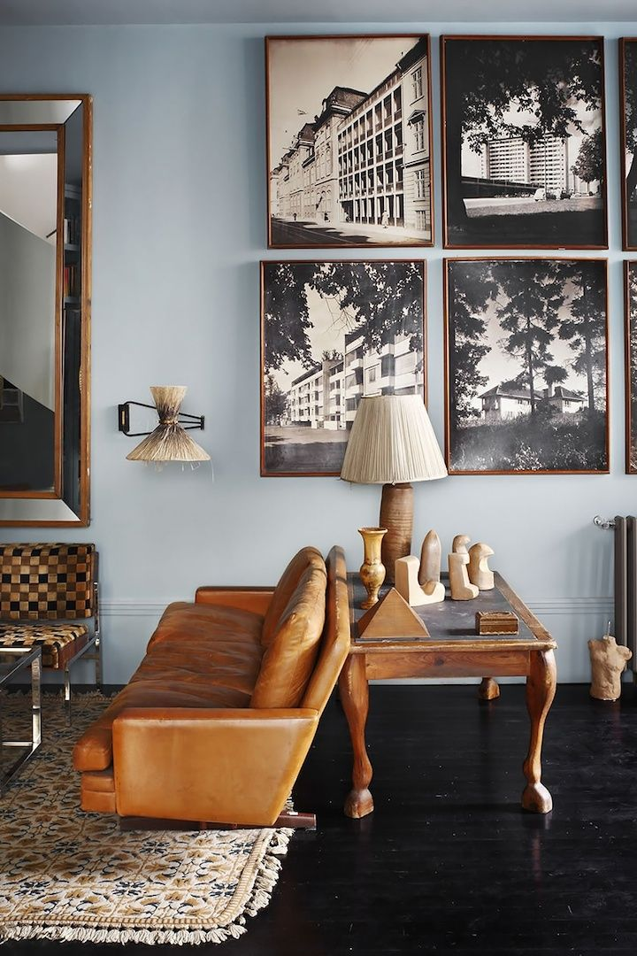 blue walls + leather and warm wood // Lorenzo Castillo.